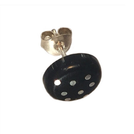 Örhänge knapp silverstift akryl i svart