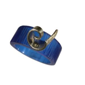 Akryl silver ring blå
