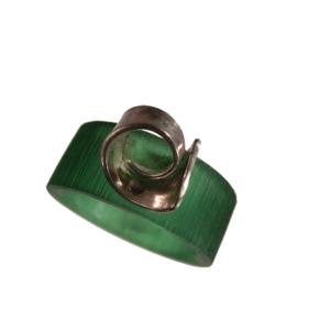 Akryl silver ring smaragd grön