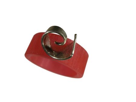 Akryl silver ring röd