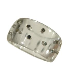 Ring akryl silverstift glasklar