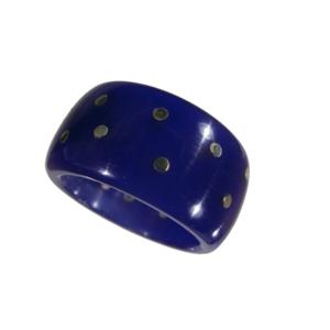 Ring akryl silverstift blå