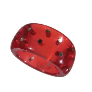 Ring akryl silverstift röd