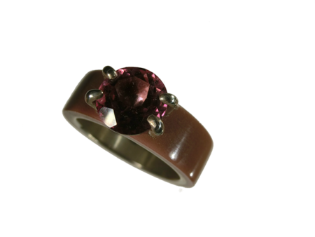 Ring silver akryl infattad rosa topas