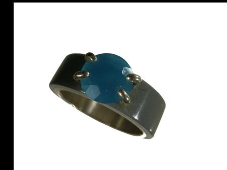 Ring silver akryl infattad turkos