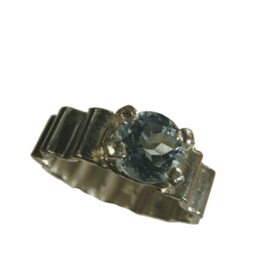 Ring silver grön ametist