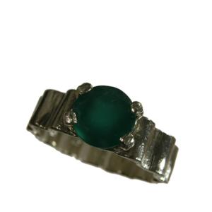 Ring silver grön agat