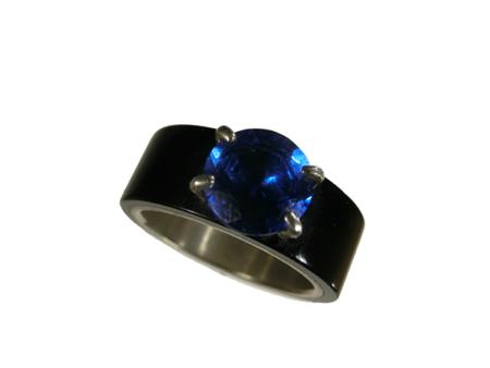 Ring silver akryl infattad synt. safir